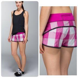 Lululemon Run Speed Short Pink Checks